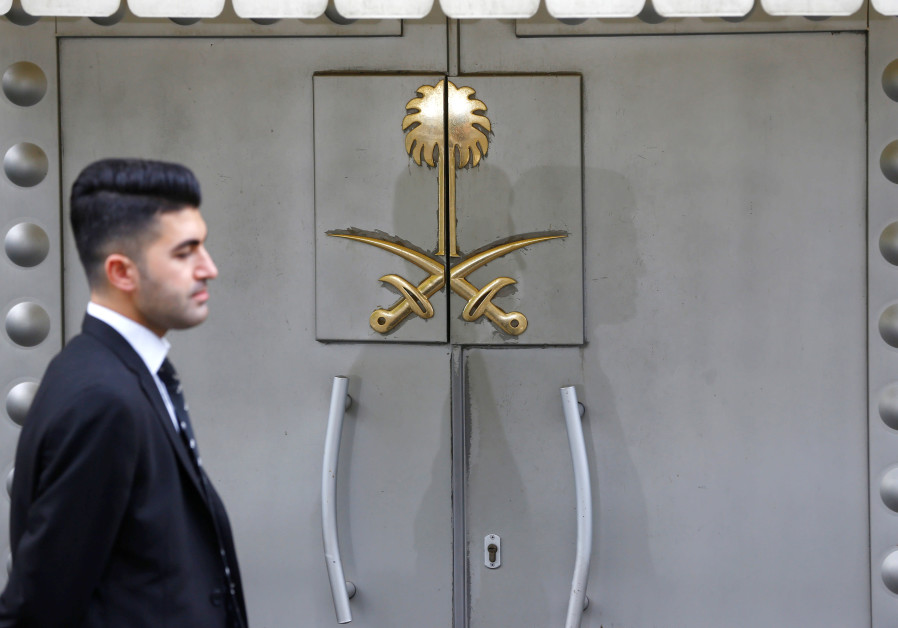 A security staff member stands at the entrance of Saudi Arabia's consulate in Istanbul, Turkey