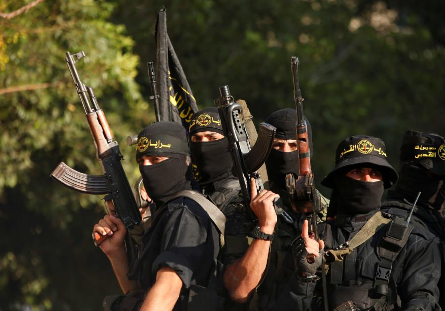 Palestinian Islamic Jihad militants participate in a military show in Gaza City