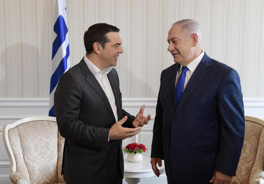 Netanyahu meets with Greek Prime Minister Alexis Tsipras in Varna, Bulgaria (photo credit: Amos Ben-Gershom/GPO)