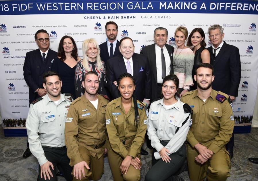 (From left to right) Andy Garcia, Fran Drescher, Dr. Miriam Adelson, Gerard Butler, Sheldon G. Adels