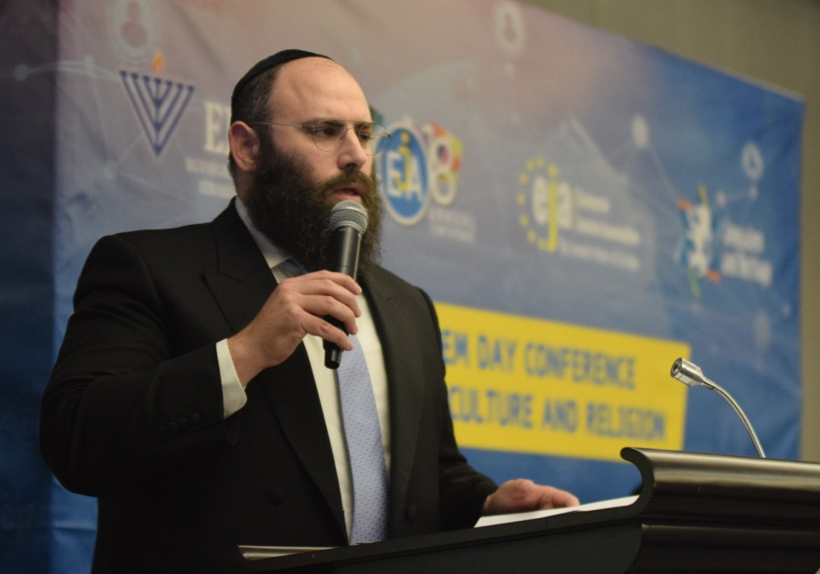 Founder and Chairman of the European Jewish Association Rabbi Menachem Margolin speaking at the open