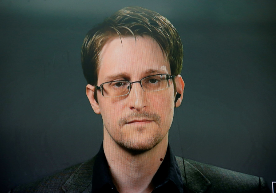 Edward Snowden speaks via video link during a news conference in New York City, U.S.