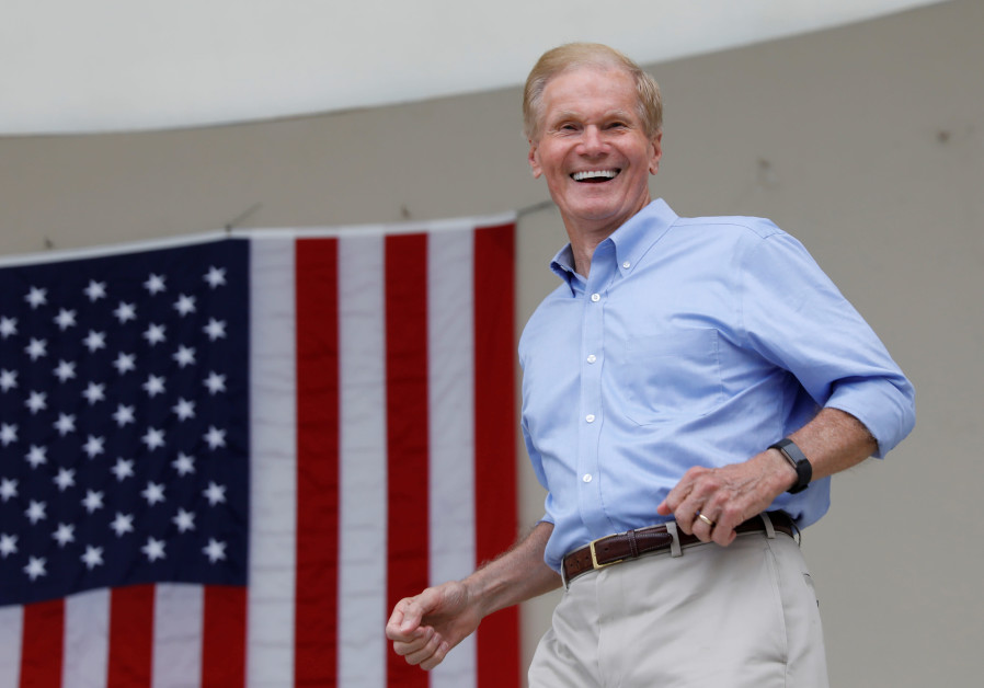 Senator Bill Nelson (D-FL) smiles in West Palm Beach, Florida, U.S., November 3, 2018