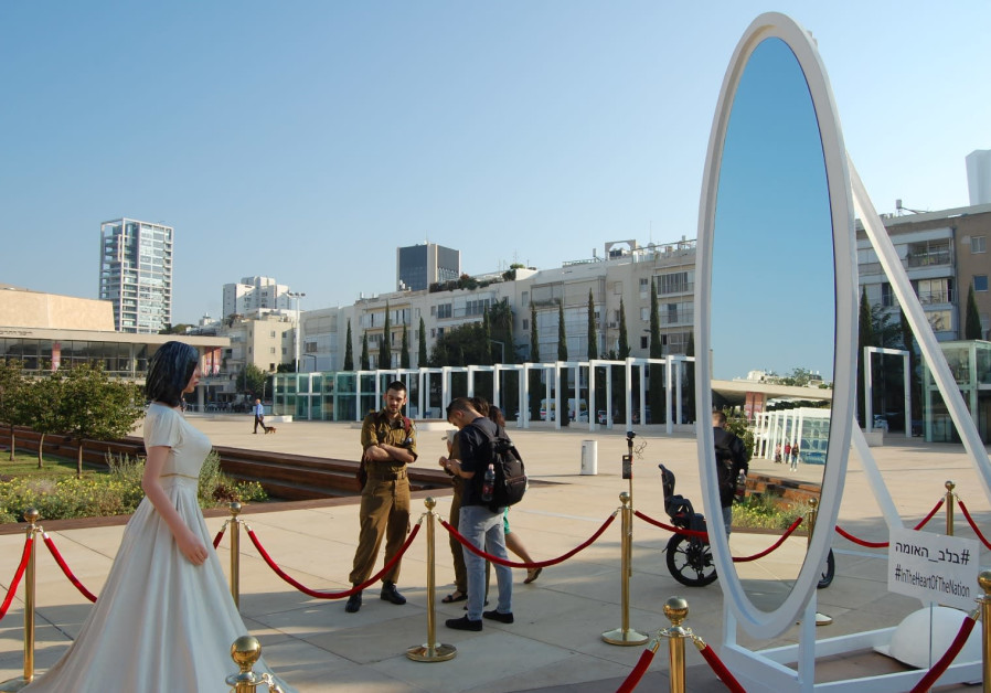 Statue of Minister of Culture and Sports Miri Regev on HaBima square in Tel Aviv, November 8, 2018