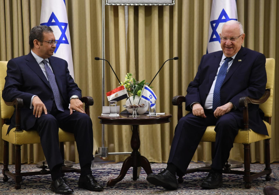 President Rivlin sits with Egyptian ambassador Khaled Azmi
