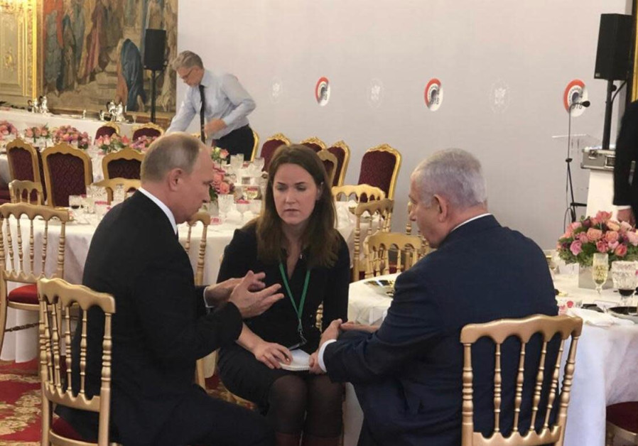 Prime Minister Benjamin Netanyahu (R) and Russian President Vladimir Putin (L), November 11th, 2018