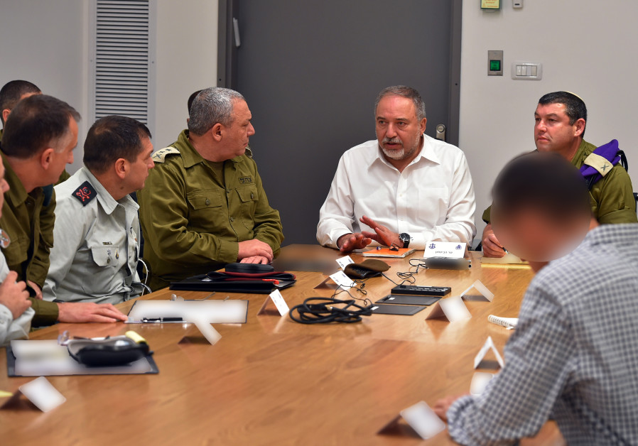 Defense Minister Avigdor Liberman and other top IDF personnel in a security meeting in Tel Aviv  on