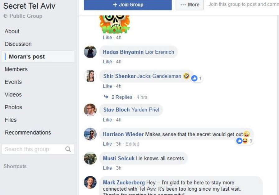 "Screenshot of Mark Zuckerberg's comments in the ""Secret Tel Aviv"" Facebook group"