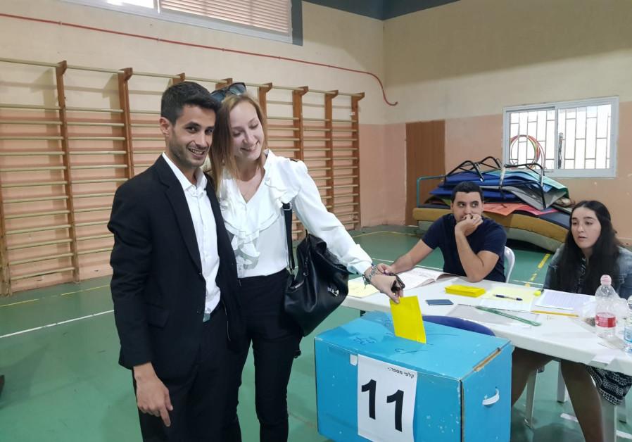 Candidate Avihai Stern voting in Kiryat Shmona.
