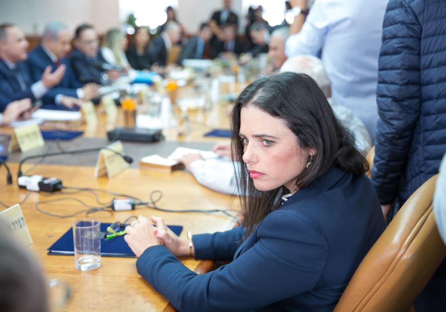 Ayelet Shaked lors d'une réunion de cabinet hebdomadaire, le 18 novembre 2018
