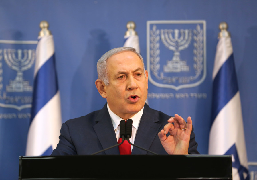 Israel's Prime Minister Benjamin Netanyahu delivers a statement to the members of the media in Tel A
