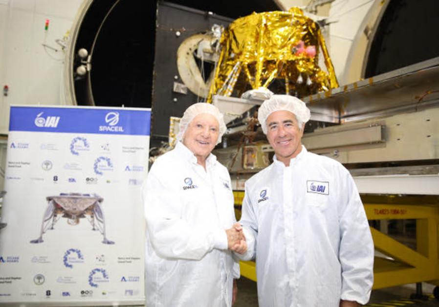President of SpaceIL Morris Kahn with Canadian-Israeli businessman Sylvan Adams at IAI