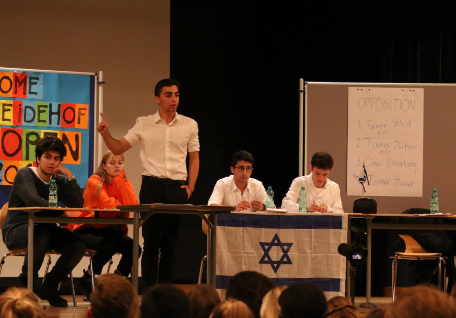 The Israeli high school debate team in the European championships, who came out in first, 2018.