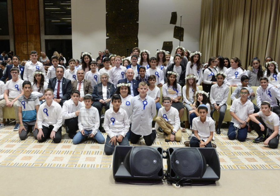 Rivlin hosted a  bar- and batmitzvah event for children of families affected in terrorist attacks.