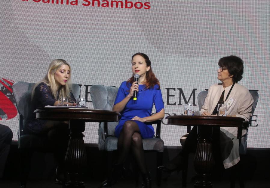 Cyprus's Ambassador Thessalia Salina Shabos (left), Zionist Union MK Stav Shaffir and Canada's Ambas