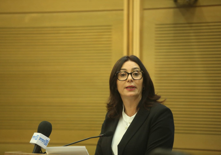 Miri Regev talks about cultural loyalty bill at press conference.