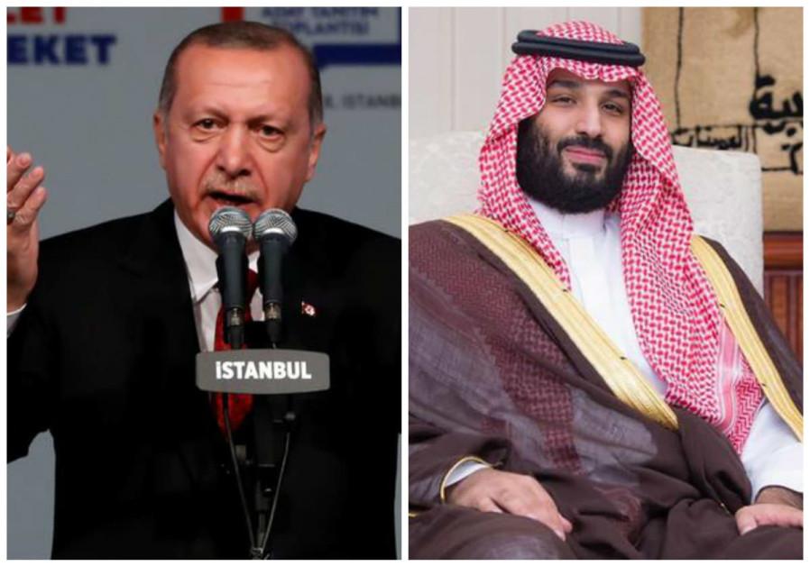 Turkish President Tayyip Erdogan (L) and Saudi Prince Mohammed bin Salman (R)