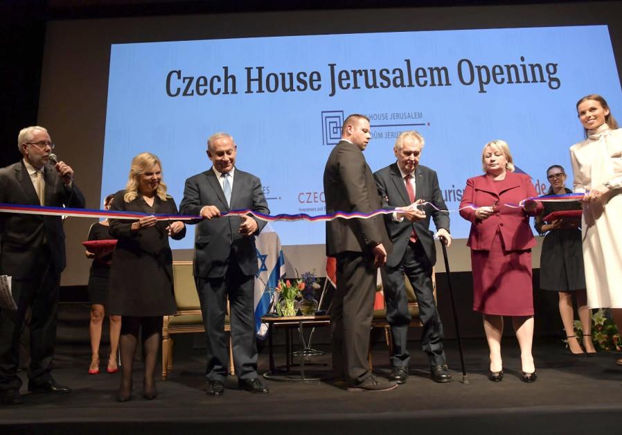 Czech President Milos Zeman and Benjamin Netanyahu at opening of Czech House.