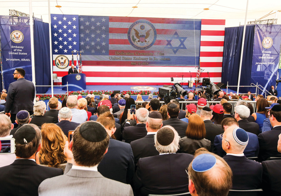 US AMBASSADOR to Israel David Friedman speaks at the opening of the US Embassy in Jerusalem last yea