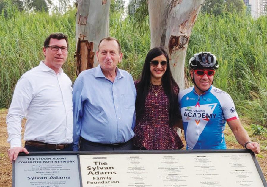 Tel Aviv Mayor Ron Huldai (second from left) and Canadian-Israeli philanthropist Sylvan Adams (right