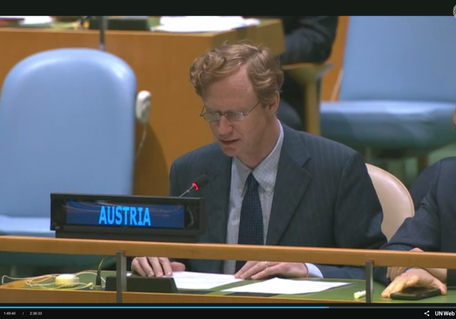 Austrian envoy at the UN Friday. (photo credit: UN Web TV)
