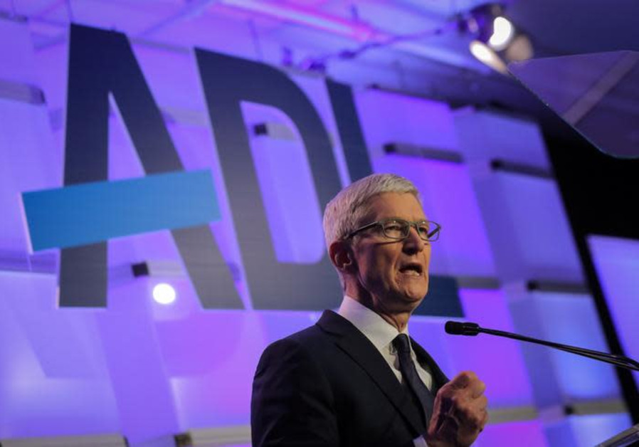 "Apple CEO Tim Cook speaks at the Anti-Defamation League's ""Never is Now"" summit in New York City"