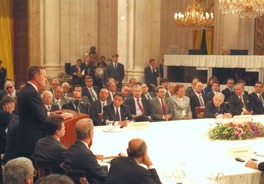 PRESIDENT GEORGE H.W. Bush at the Madrid Peace Conference