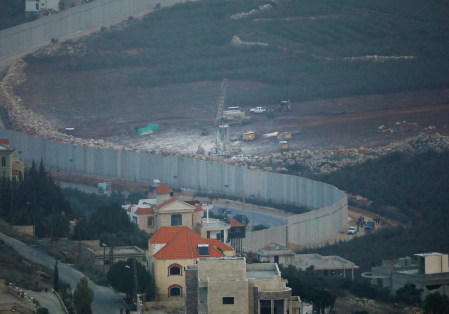 ISRAELI DRILLING EQUIPMENT near the Lebanese village of Kafr Kila,