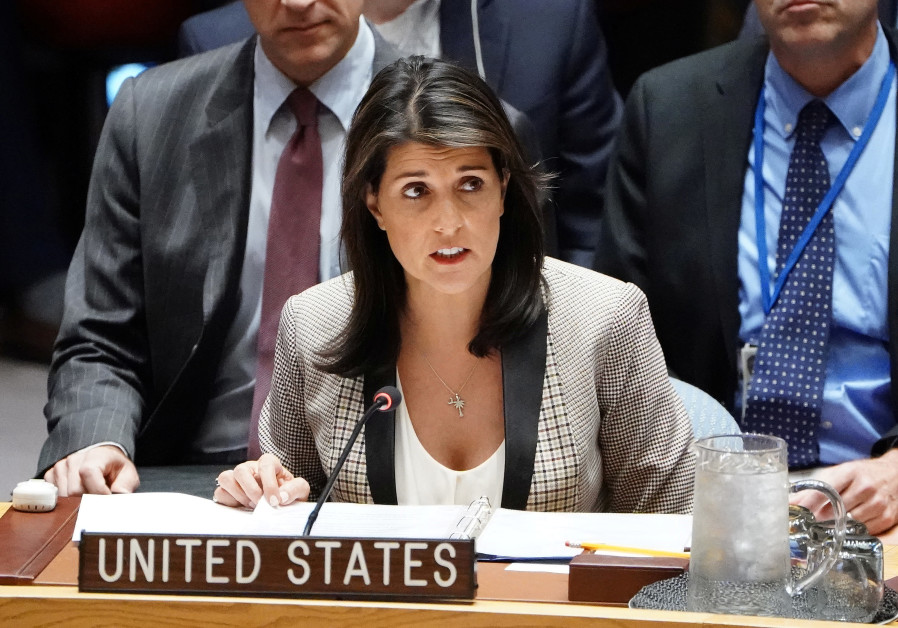 United States Ambassador to the United Nations Nikki Haley speaks during a meeting of the United Nat
