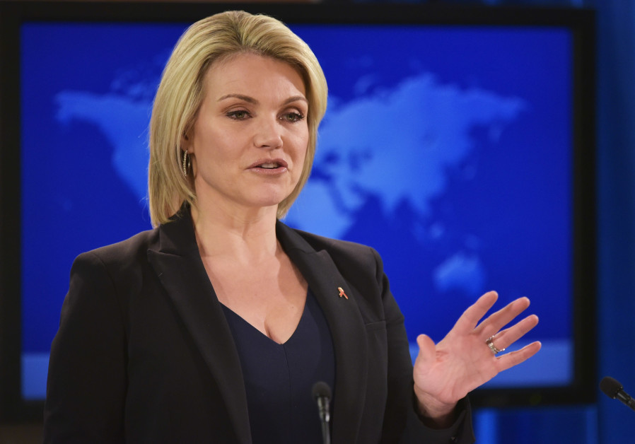 Heather Nauert speaks during a briefing at the State Department in Washington, DC