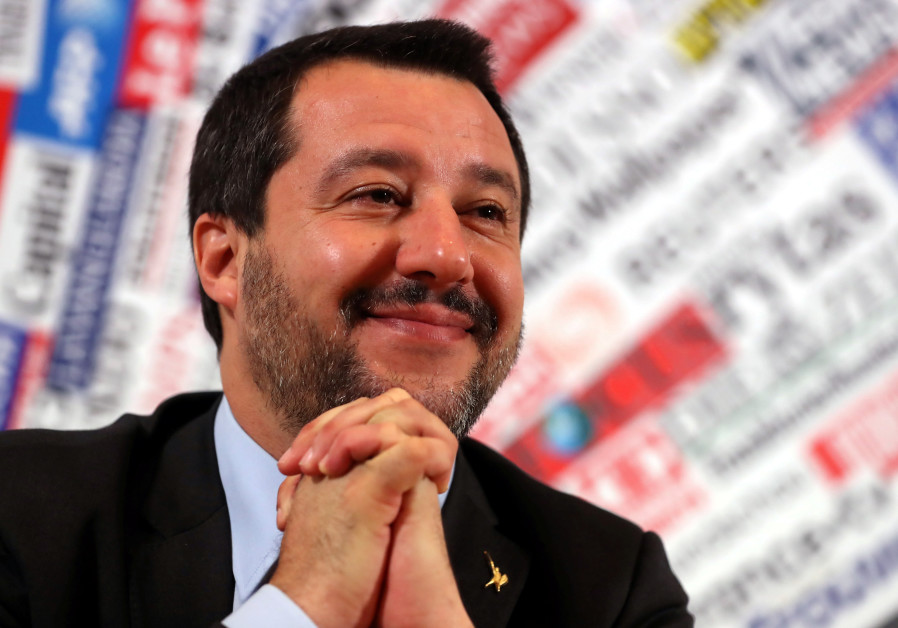 Italian Deputy Prime Minister and right-wing League party leader Matteo Salvini attends a news confe