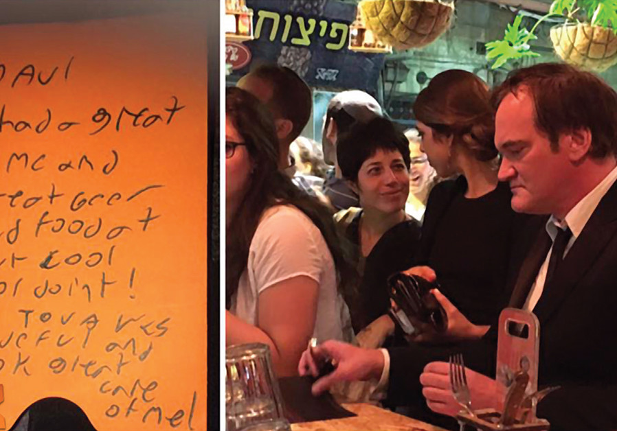 American filmmaker Quentin Tarantino is part of the scene at the shuk's BeerBazaar this past summer; at left is his thank-you note to owner Avi Moskowitz (courtesy).