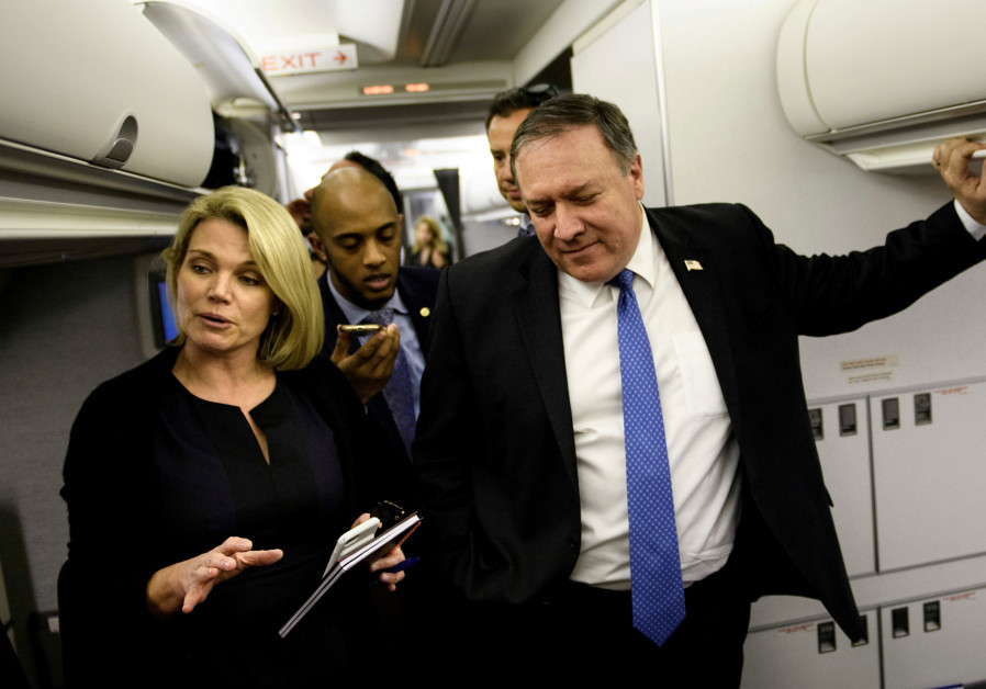 Spokesperson Heather Nauert (L) speaks as U.S. Secretary of State Mike Pompeo