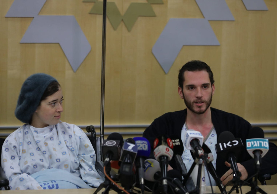 Shira (L) and Amichai (R) Ish-ran speak at a press conference, December 16th, 2018