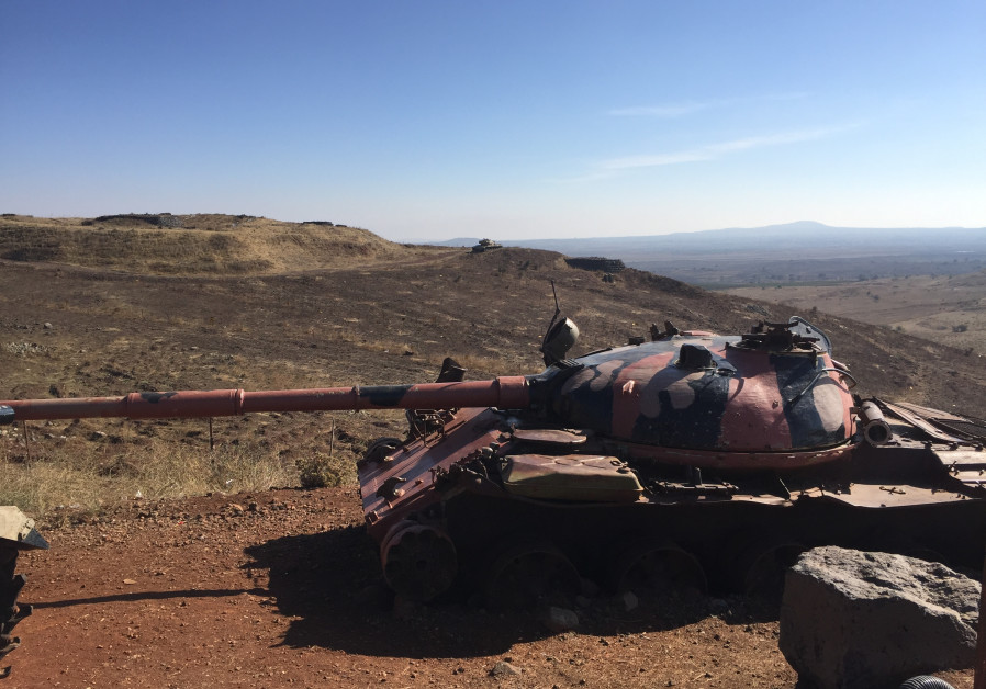 A Syrian tank from the 1973 war on the Golan Heights.