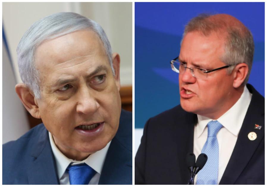 Prime Minister Benjamin Netanyahu (L) and Australian Prime Minister Scott Morrison (R)