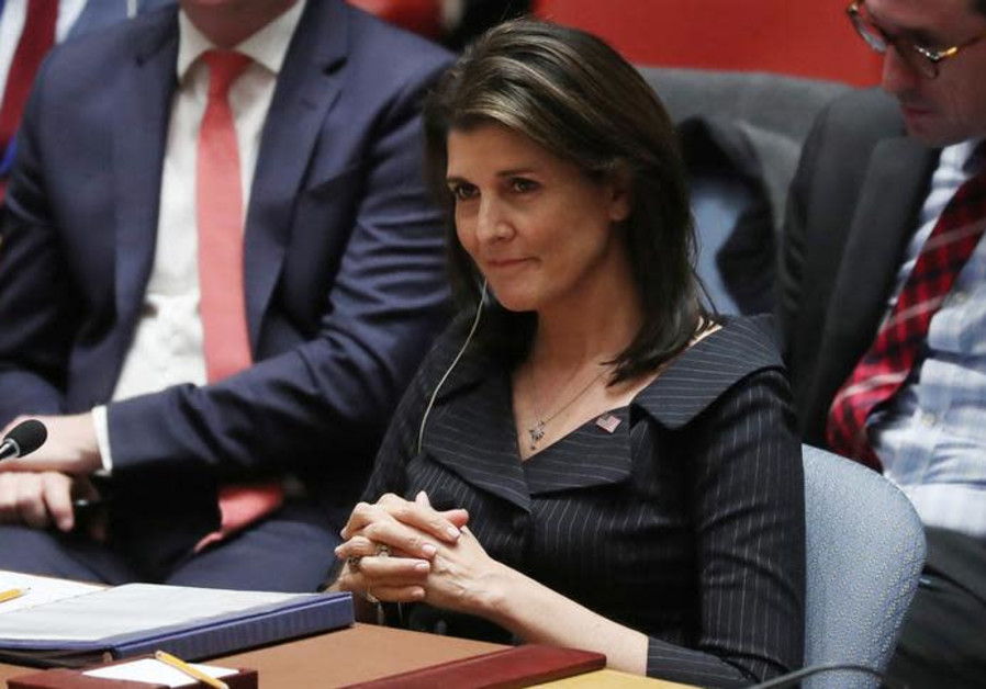 Nikki Haley listens to a speaker during a U.N. Security Council meeting on the Middle East