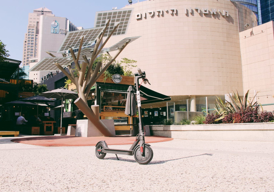 A Bird electric scooter in Tel Aviv.