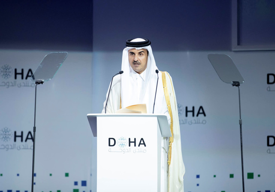 Amir of Qatar Sheikh Tamim bin Hamad bin Khalifa Al-Thani speaks during Doha Forum in Doha, Qatar, D