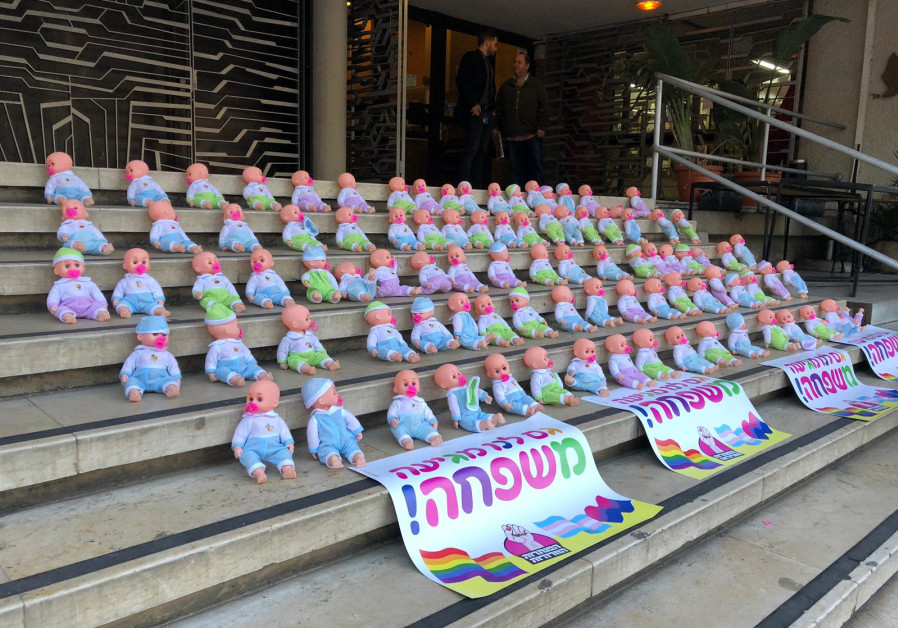 Baby dolls placed in front of the Jabotinsky House in Tel Aviv in protest of the state's opposition