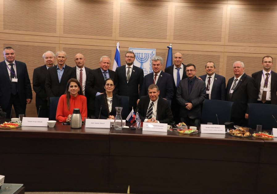 Members of the Russian defense delegation visit the Knesset on December 19.