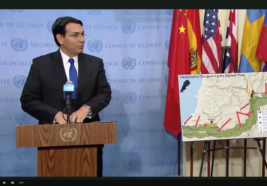 Danny Danon with a map of Hezbollah tunnels in front of the UN Security Council, December 19th, 2018