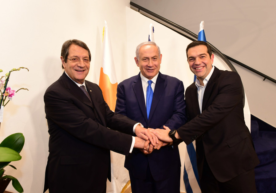 Israel PM Binyamin Netanyahu,Cypriot President Nicos Anastasiades and Greek Prime Minister