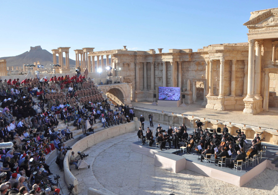 Russia's Mariinsky Theatre performs at the amphitheatre of the Syrian city of Palmyra, Syria in this