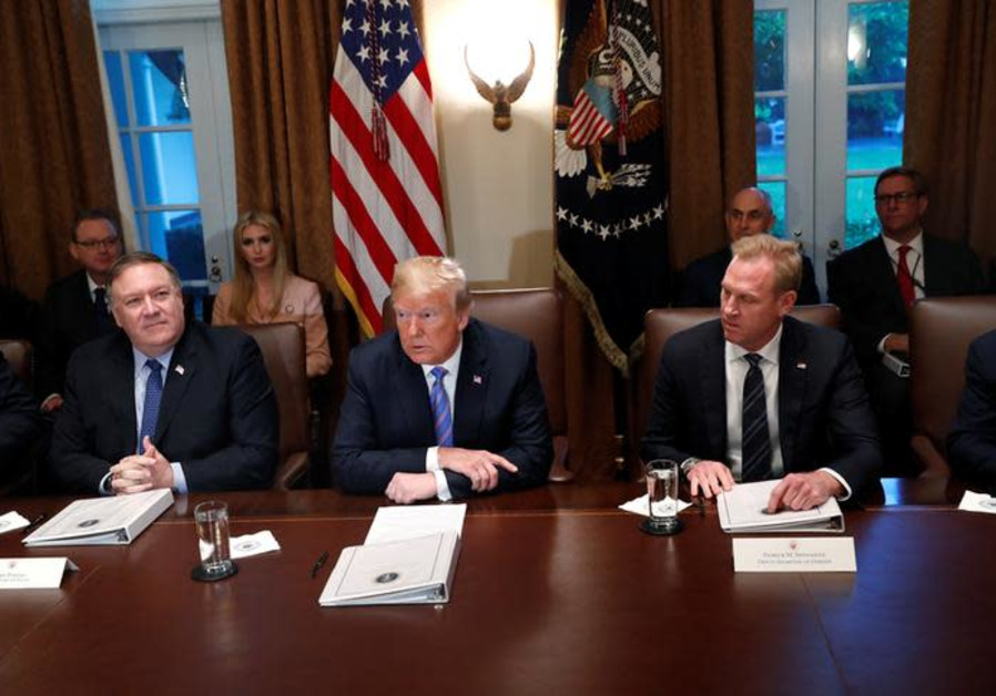U.S. President Donald Trump participates in a meeting with cabinet members