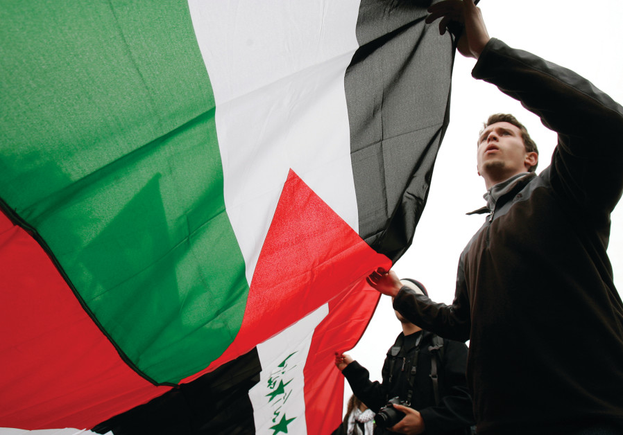 DEMONSTRATORS CARRY a Palestinian flag in California.