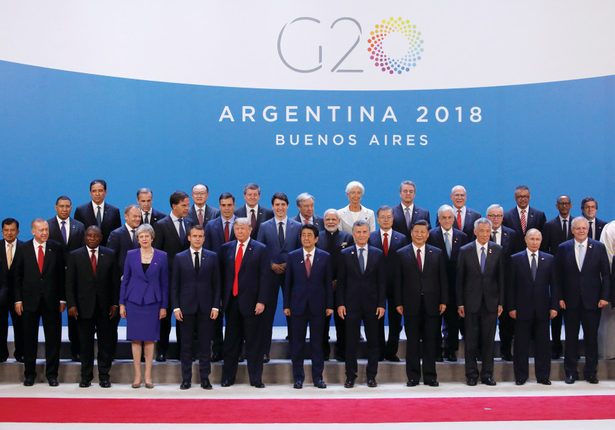 LEADERS POSE for a photo during the G20 summit in Buenos Aires, Argentina, in November.