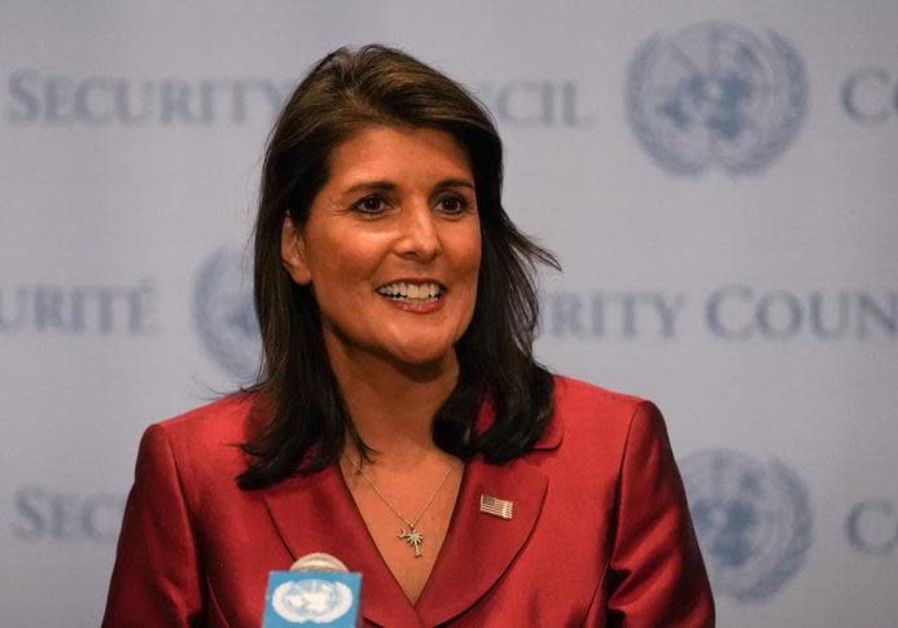 Nikki Haley speaks during a news conference at U.N. headquarters in Manhattan, New York, U.S.