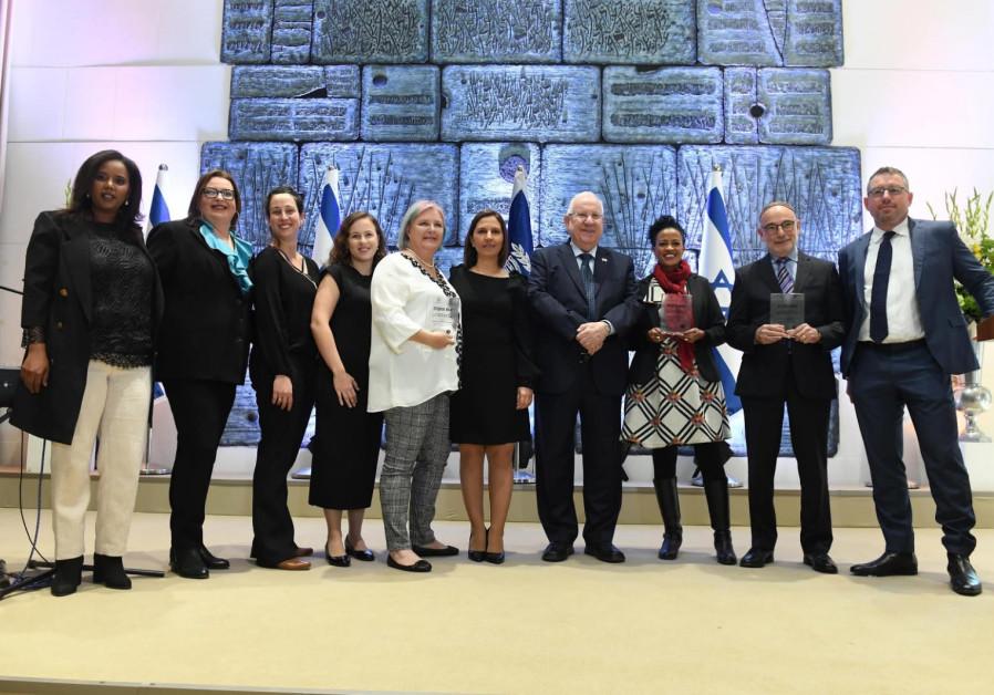 MK Pnina Tamano-Shata (Yesh Atid) [far left] joins President Reuven Rivlin [center]