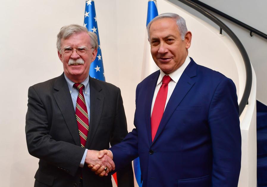 Prime Minister Benjmain Netanyahu (R) meets US National Security Adviser John Bolton (L)